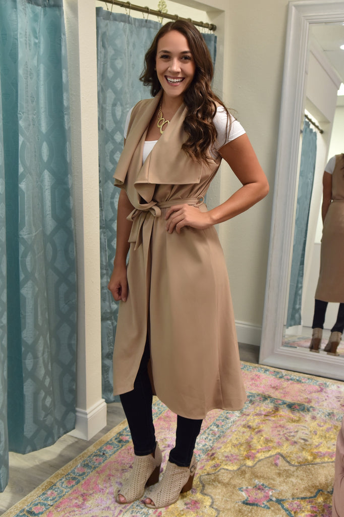 Simply Perfect Belted Long Vest- Mocha
