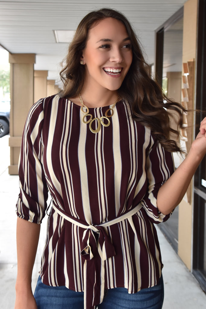 Jade Striped Top with Tie