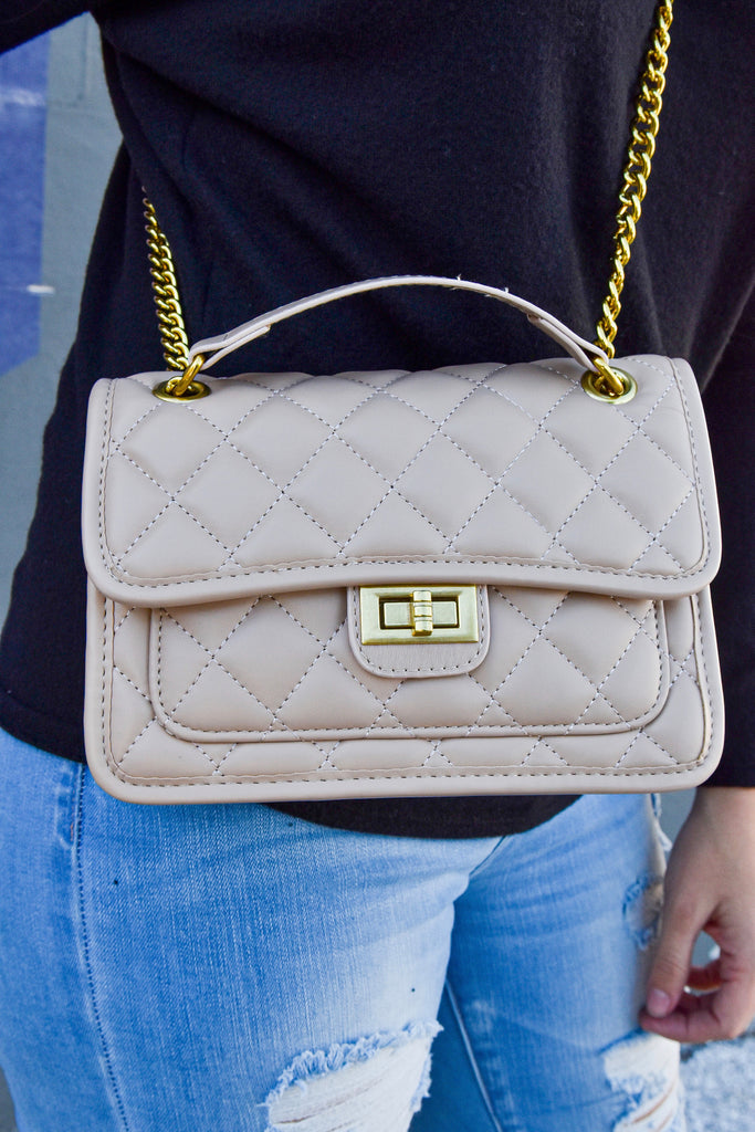 The Kira Quilted Bag- Beige - Vogue Society