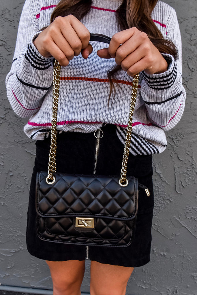 The Kira Quilted Bag- Black - Vogue Society
