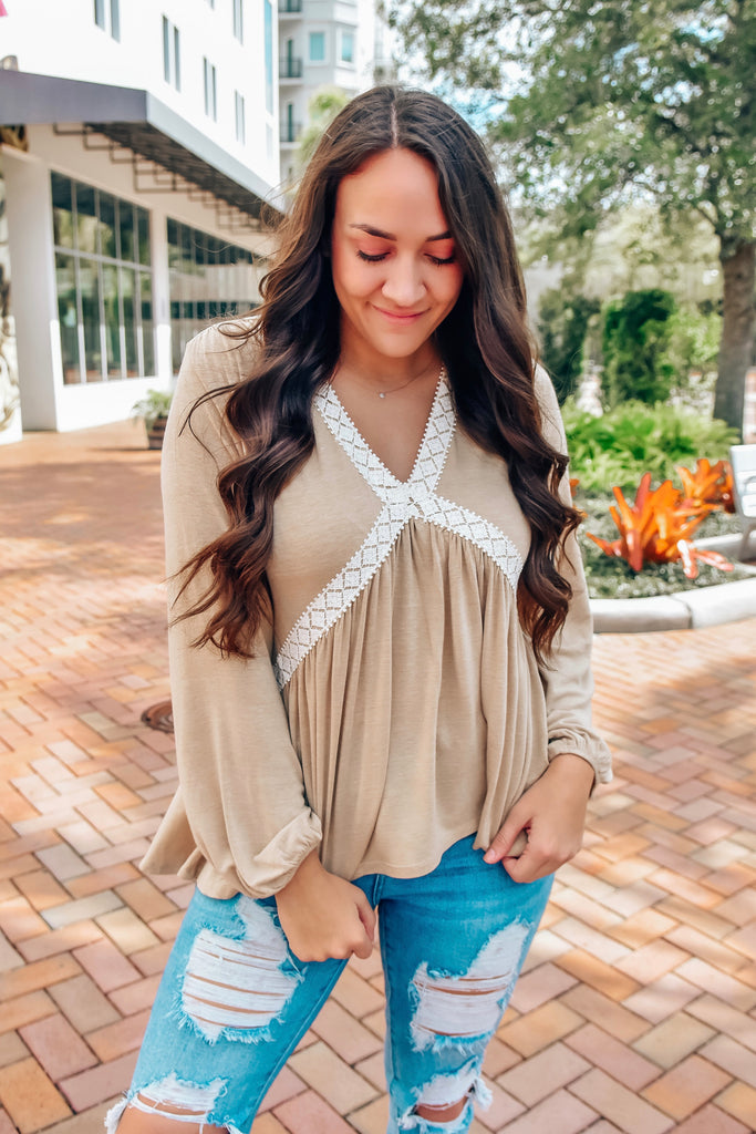 Shiloh Lace Babydoll Top- Taupe - Vogue Society