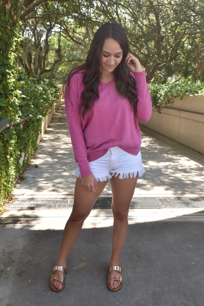 Heavenly Soft Long Sleeve- Hot Pink