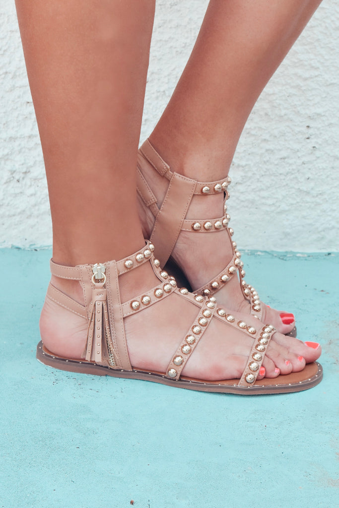 The Bina Studded Sandal- Nude - Vogue Society