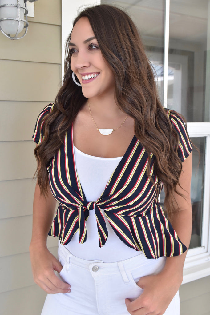 Stop By Tie Top- Navy/ Yellow