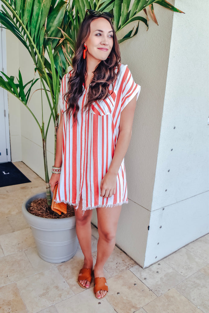The Girlfriend Striped Dress- Red/ White