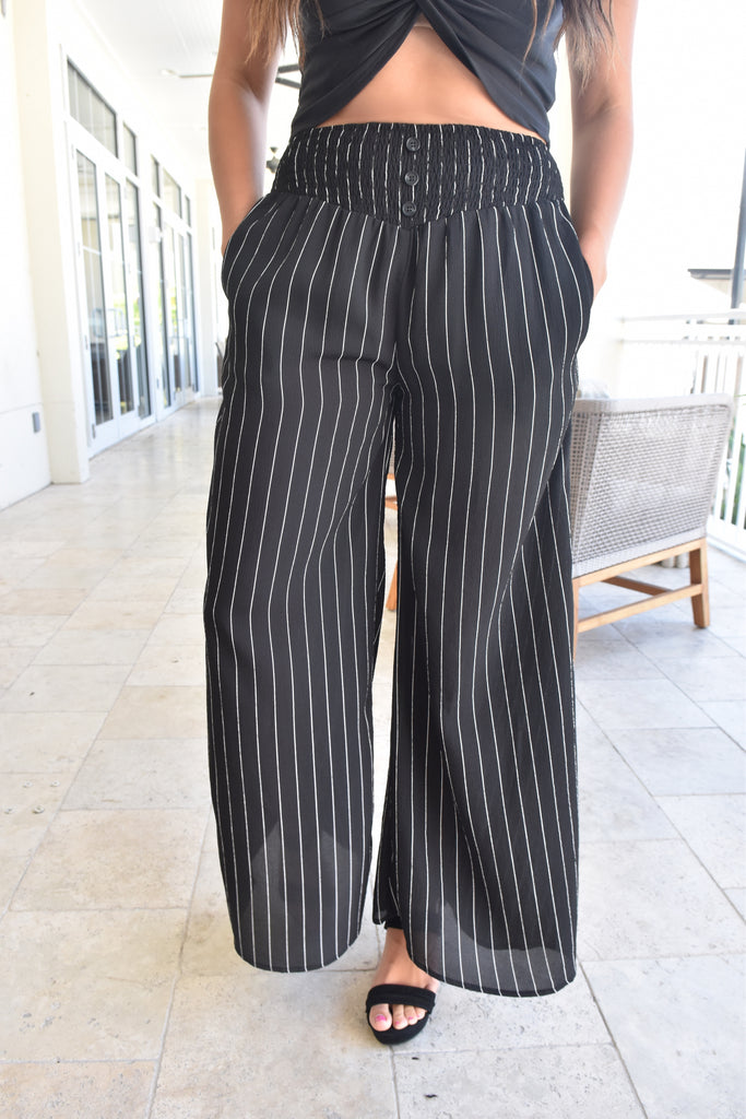 Montego Black & White Stripe Pant