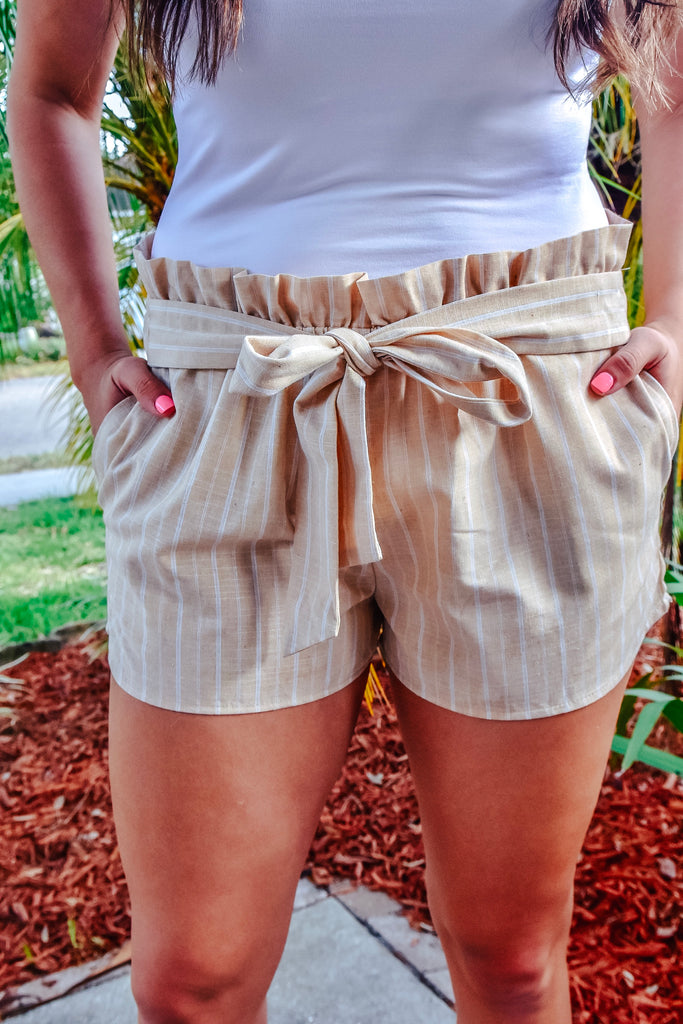 Beachy Sand Elastic Waist Striped Shorts