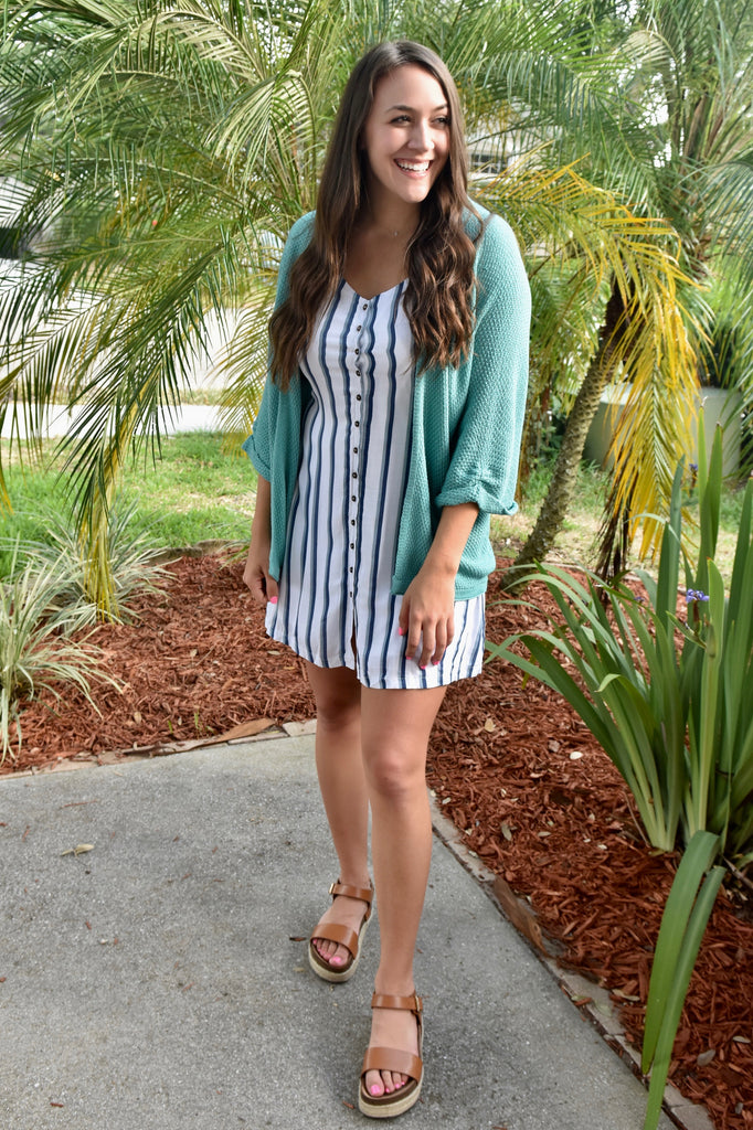 Striped Summer Solace Dress- Blue
