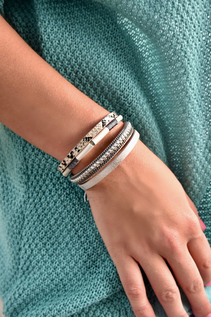 Snake Leather Magnetic Bracelet-Gray