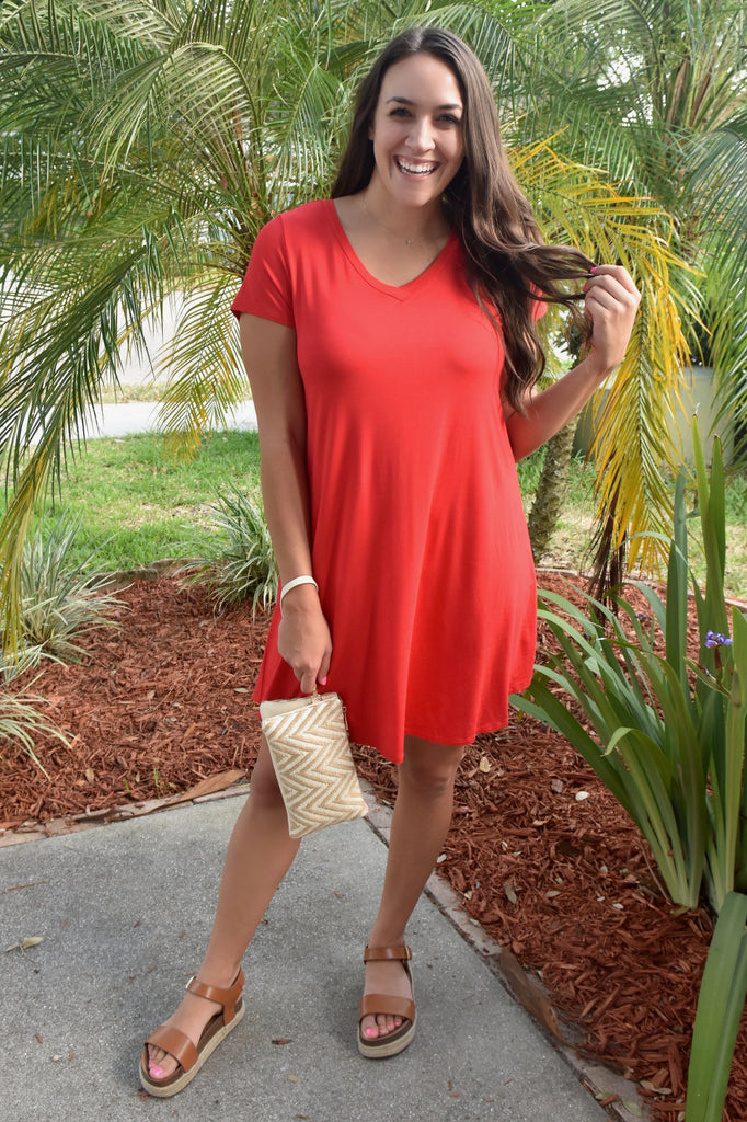 Best T-Shirt Dress Ever- Red