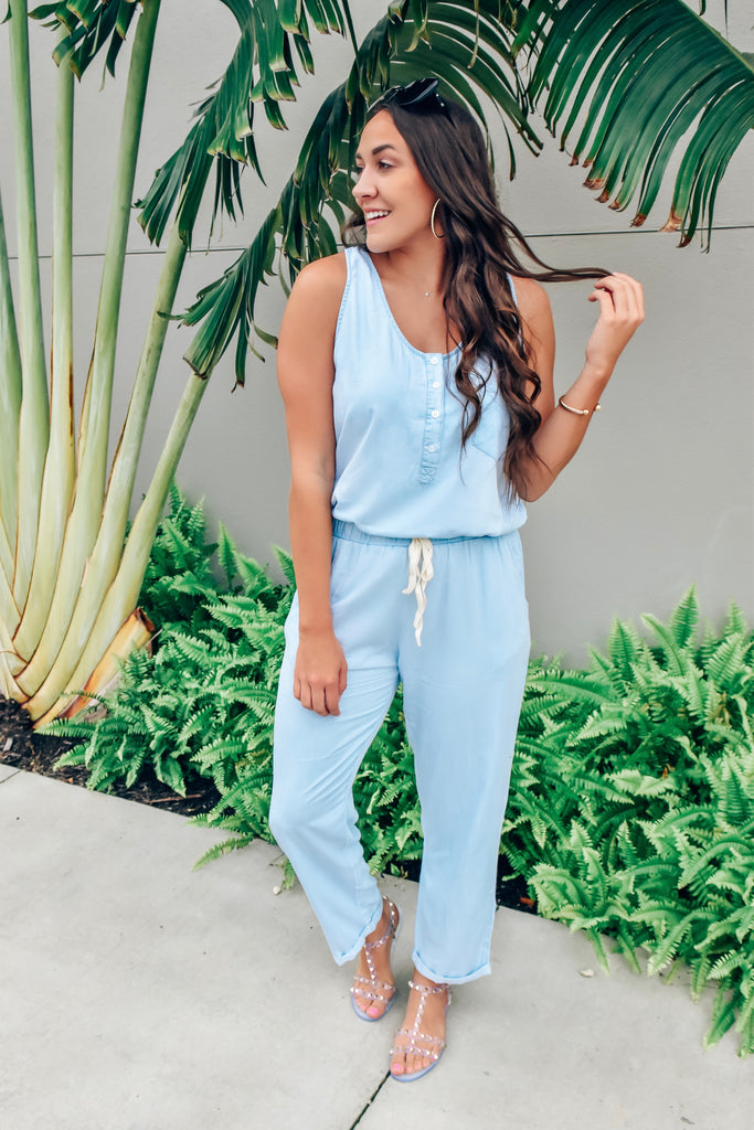 Catching Flights Chambray Jumpsuit
