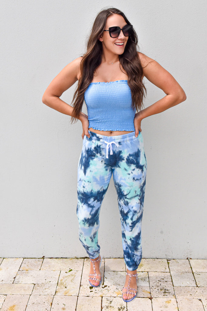Like a Cloud Tie Dye Joggers- Sky Blue