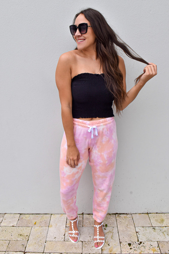Like a Cloud Tie Dye Joggers- Sherbet