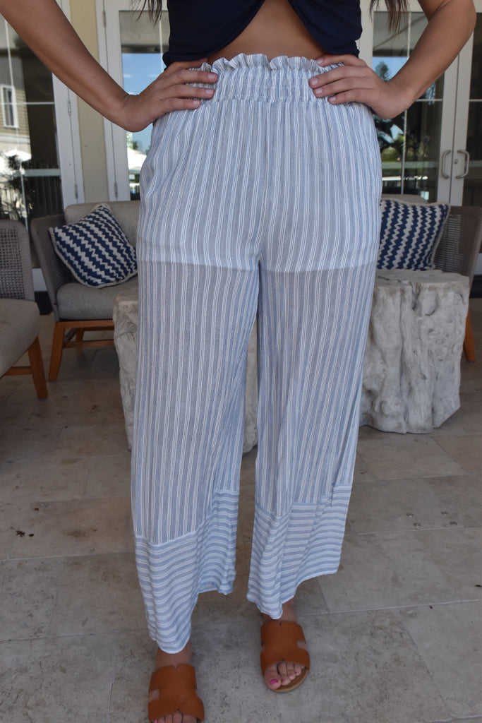 White & Blue Seaside Pant