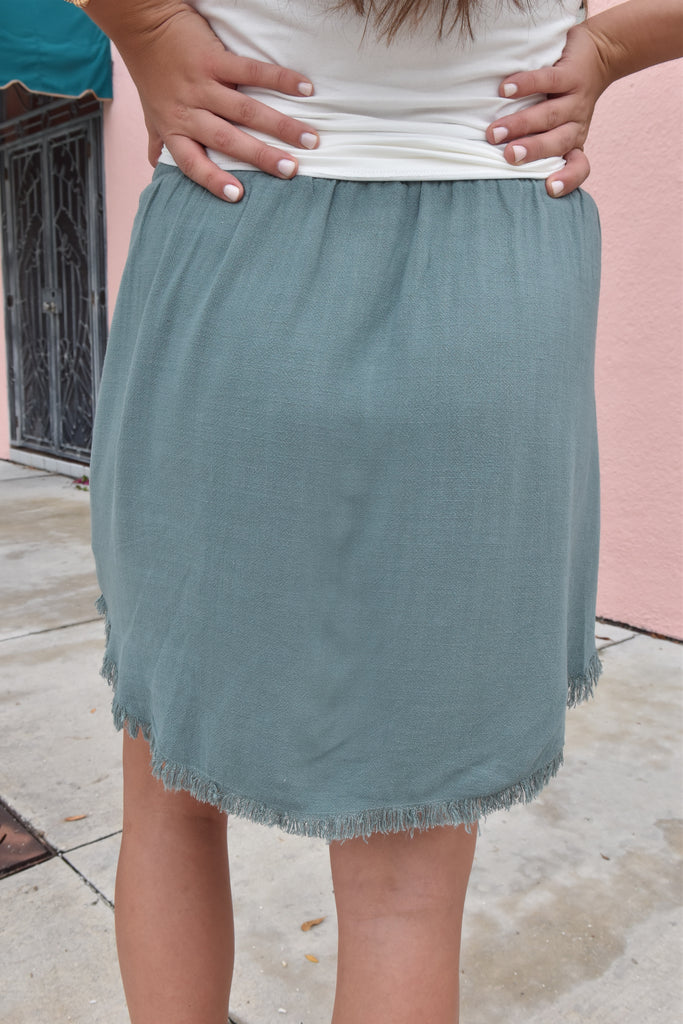 Soft Fringe Hem Skirt with Pockets- Persian Green