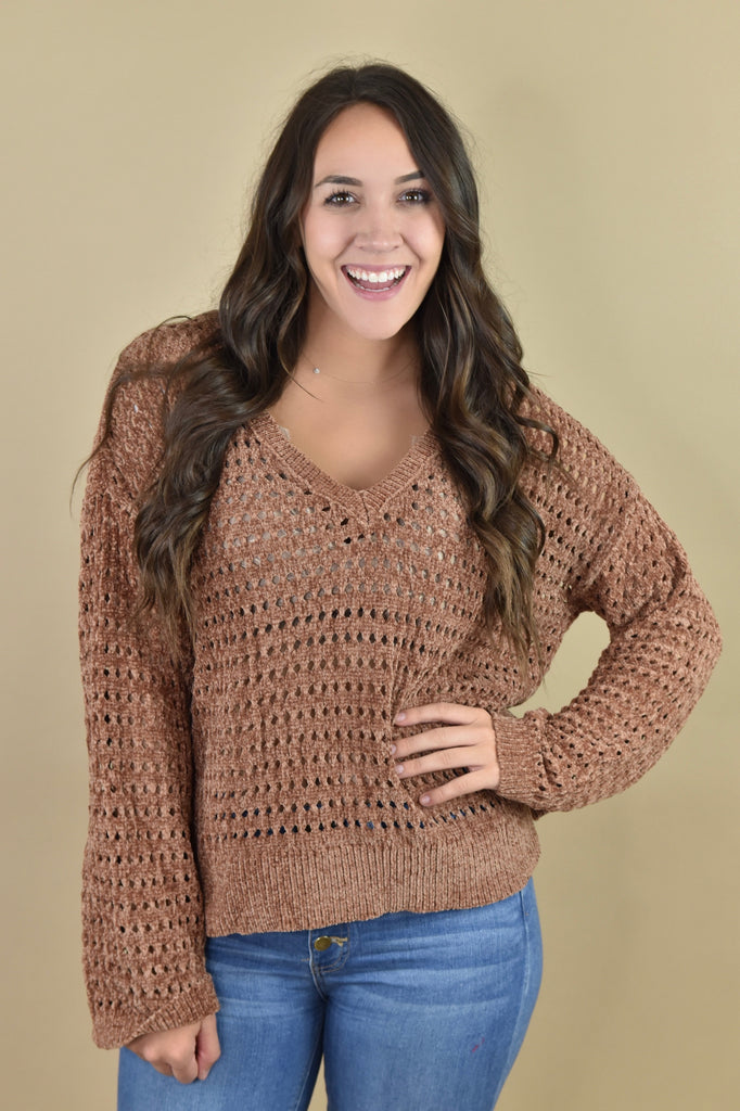 Chenille Hole-y Bronze Sweater