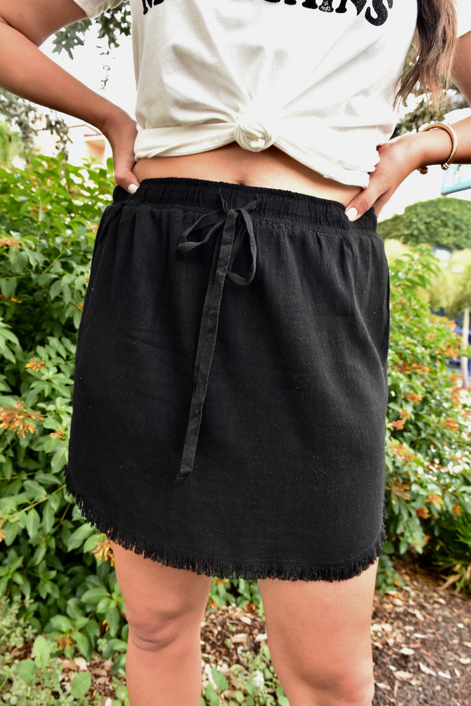 Soft Fringe Hem Skirt with Pockets- Black