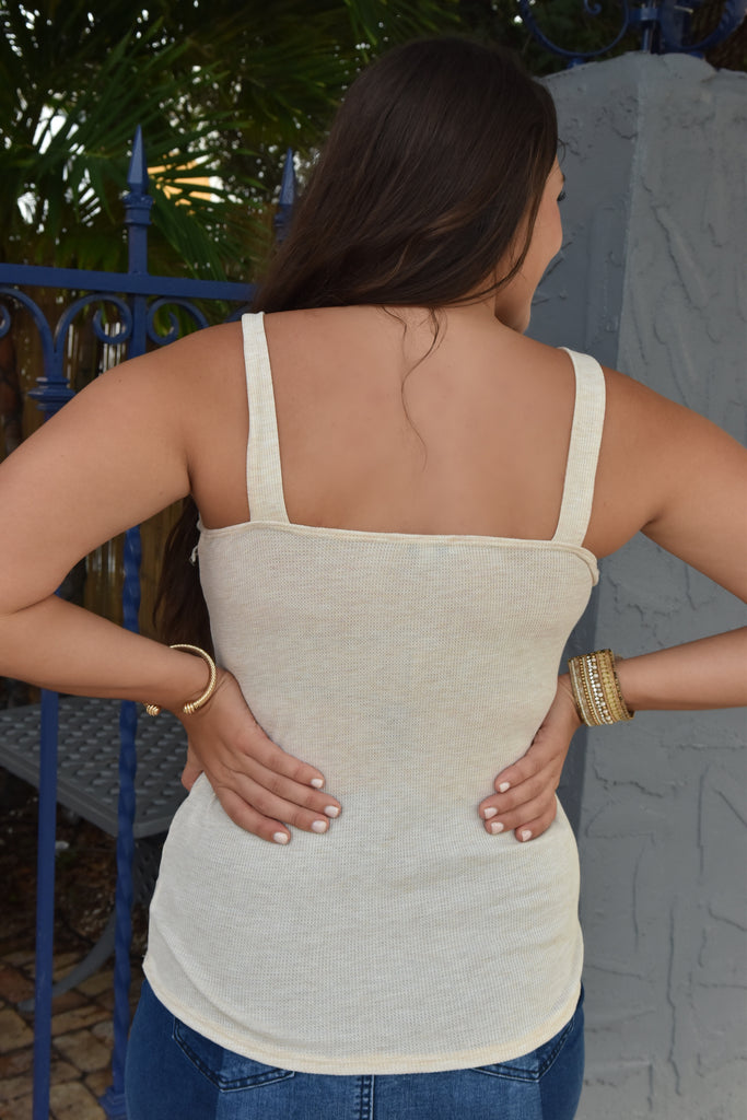 Oatmeal Ribbed Tank with Circle Details