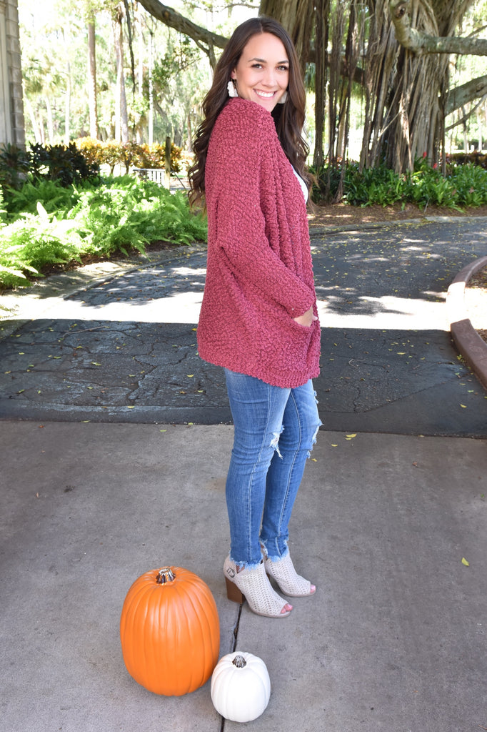 Cozy Fit Popcorn Sweater- Wine
