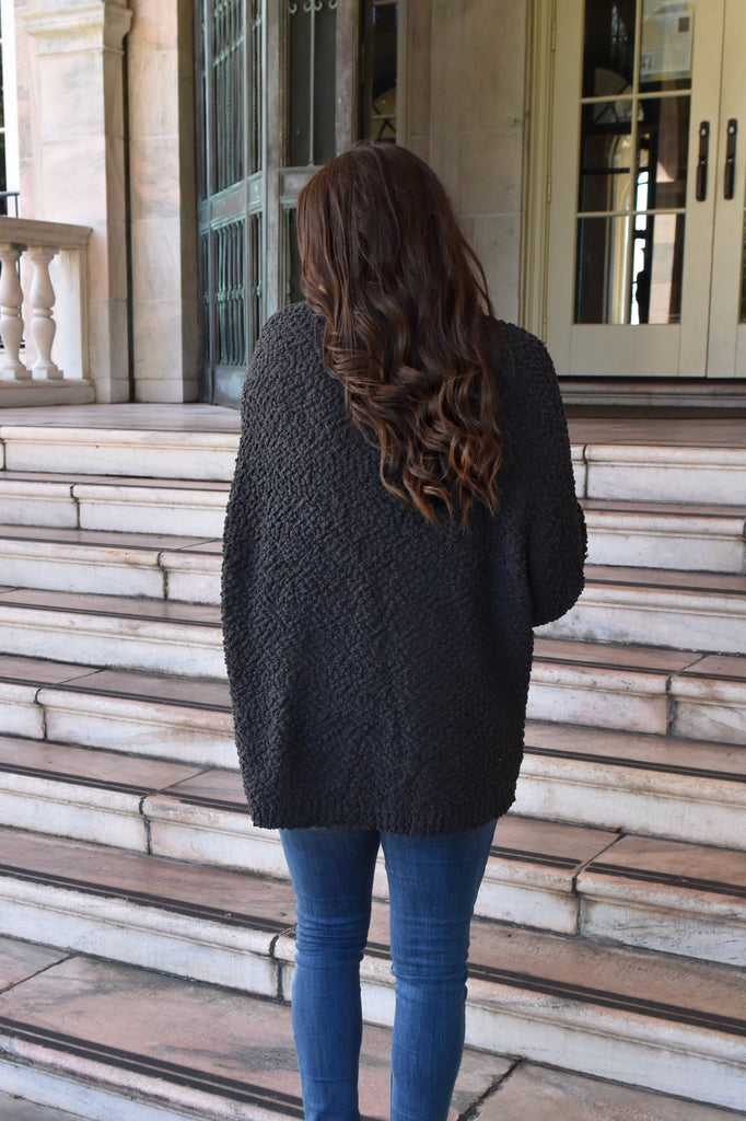 Cozy Fit Popcorn Sweater- Charcoal