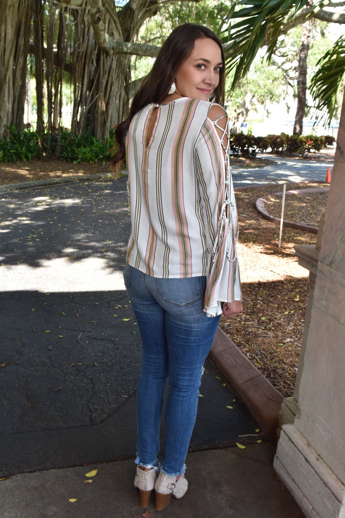 Melonie Striped Top with Lace-Up Sleeves