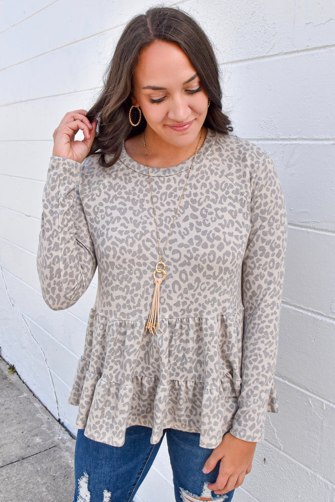 Asheville Tiered Leopard Top