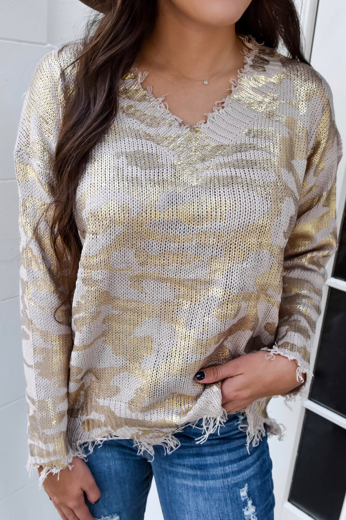 Rose & Gold Distressed Sweater - Vogue Society