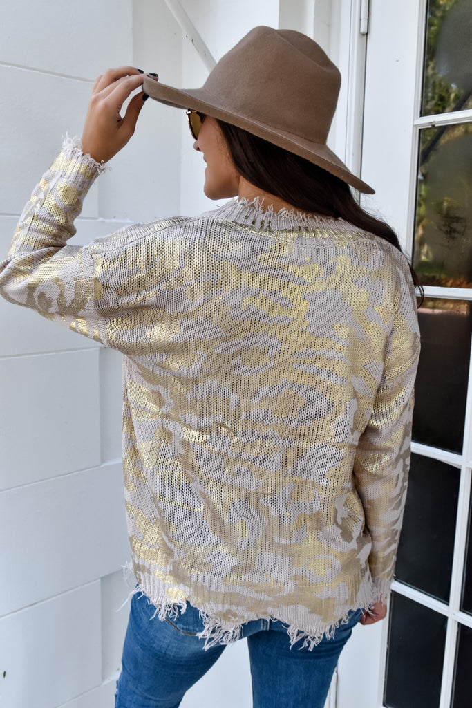 Rose & Gold Distressed Sweater