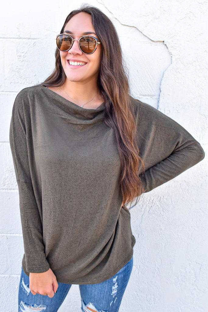 Tunnel Vision Off The Shoulder Tunic- Olive