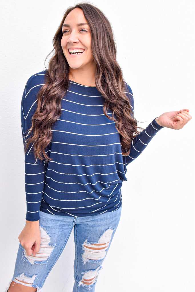 The Josie Dolman Sleeve Top- Striped Navy