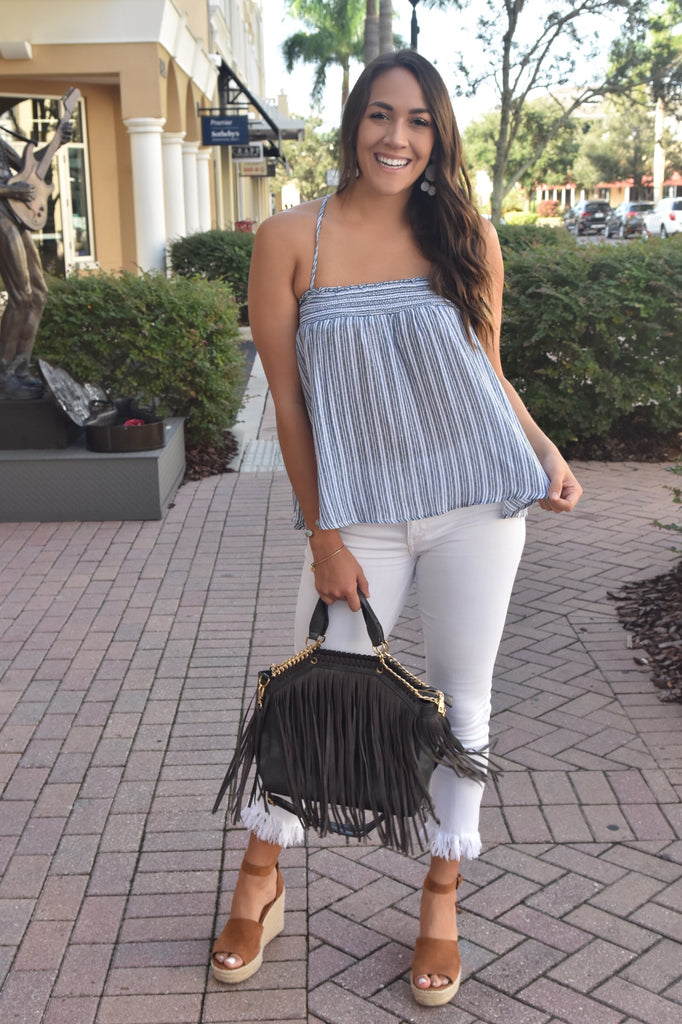 Perfect Summer Smocked Striped Tank- Navy/Grey