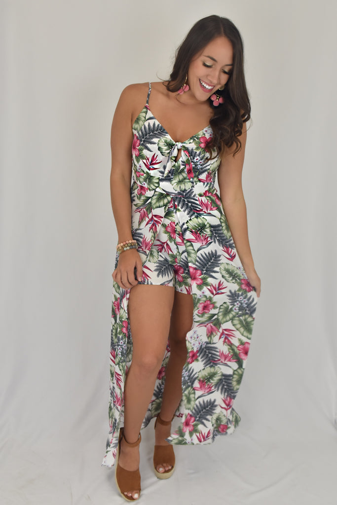 Island Celebrations Romper Maxi Dress