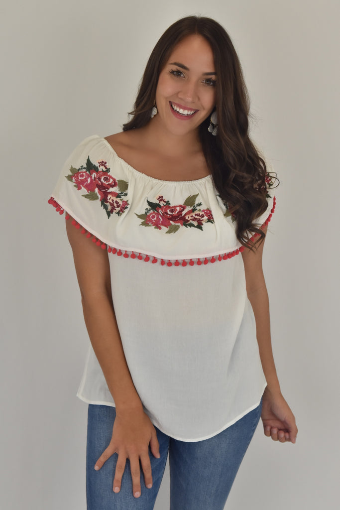 Rose Buds Pom-Pom Three Ways Top