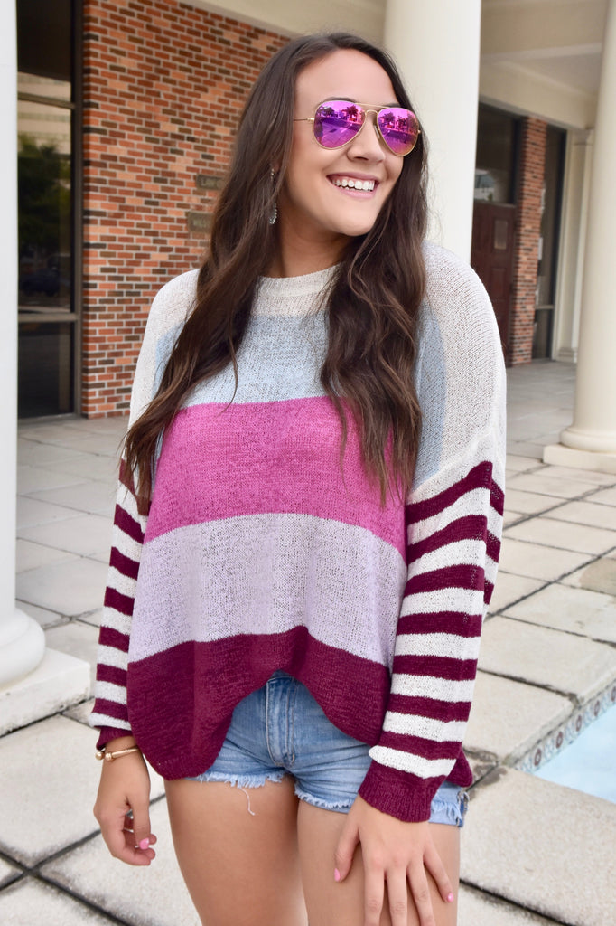 Bold Burgundy Striped Lightweight Sweater