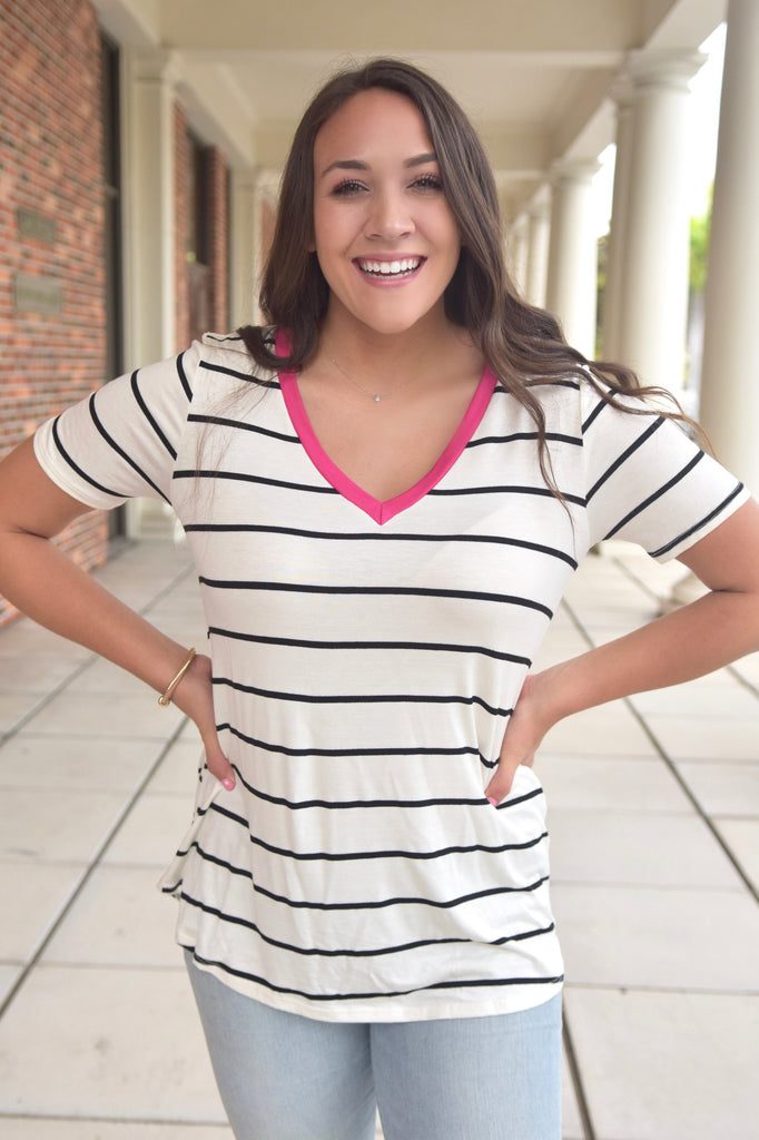 Kylie Striped V-Neck Tee- Pink