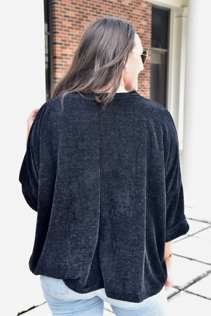 Black Half Sleeve Sweater
