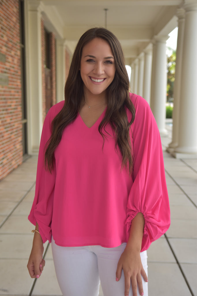 Peyton Puffed Up Sleeve Top- Hot Pink