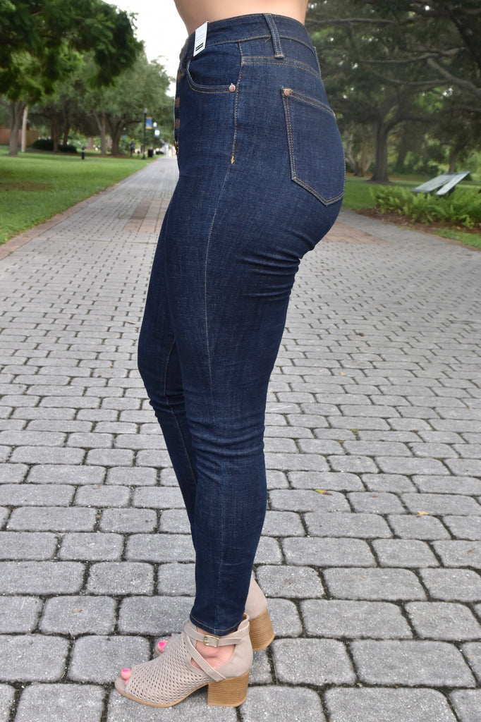 Dark Wash Button Up Skinny Jeans