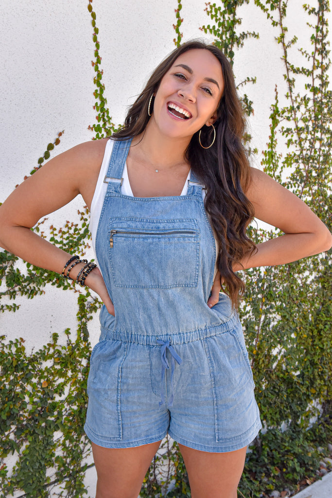 Girlfriend Overalls- Light Denim