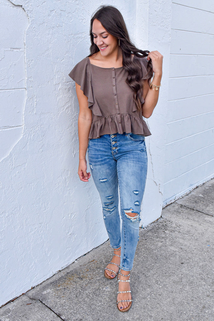 Ash Short Sleeve Ruffle Top