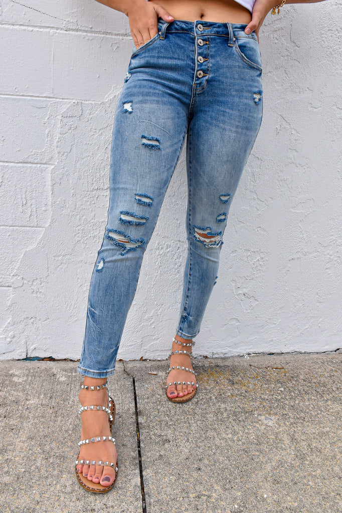The Rikki Button Up Skinny Jean