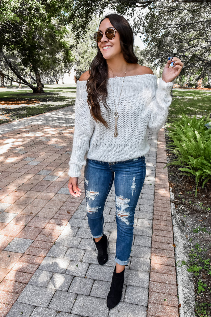 Angelic White Off The Shoulder Sweater