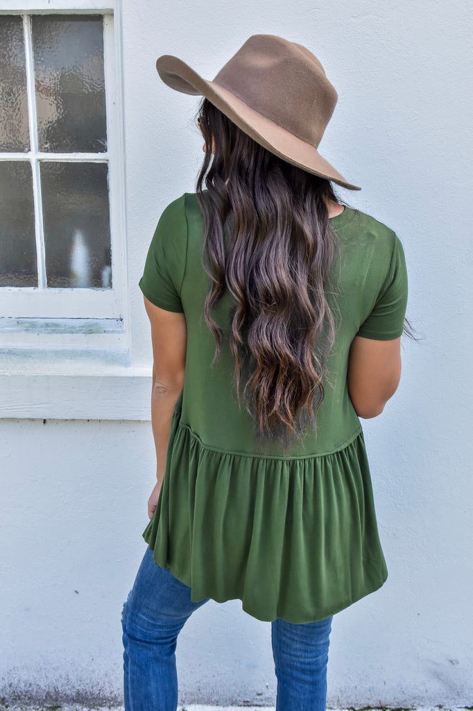 Autumn Short Sleeve Babydoll Top- Army Green
