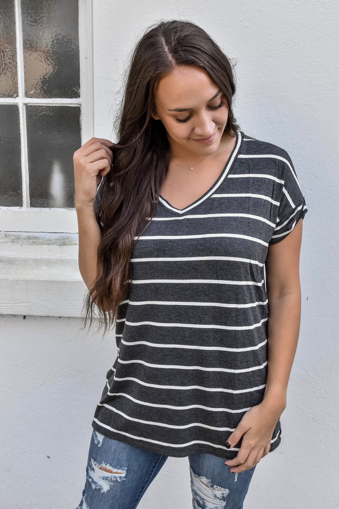 Staying In Striped V-Neck- Charcoal