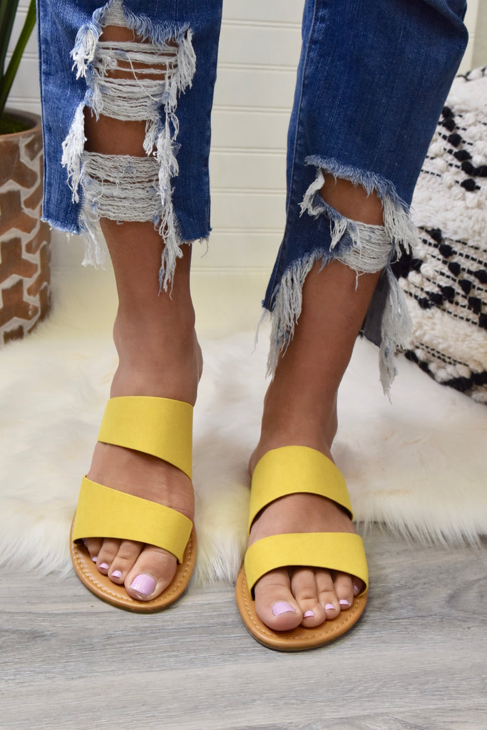 Athena Double Strap Yellow Sandal