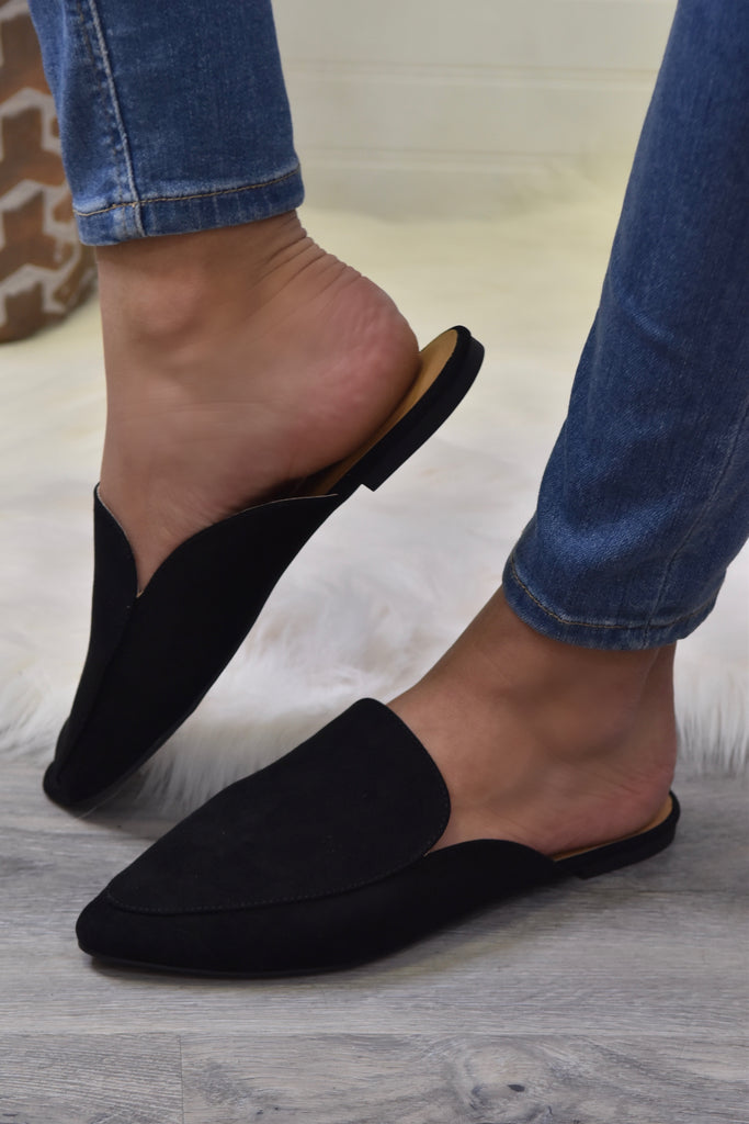 The Emily Suede Black Mule