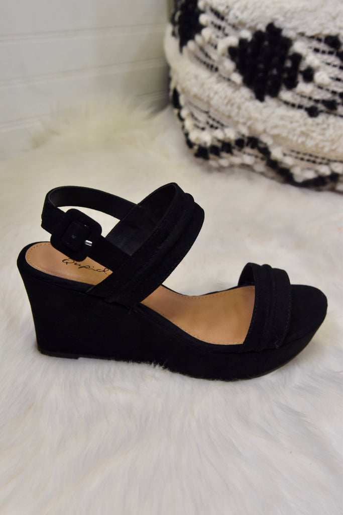 Rylie Black Suede Wedges