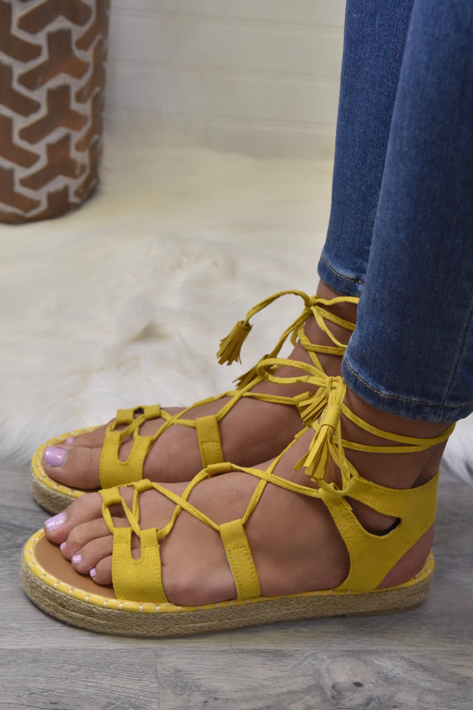 Hollie Yellow Lace Up Sandal