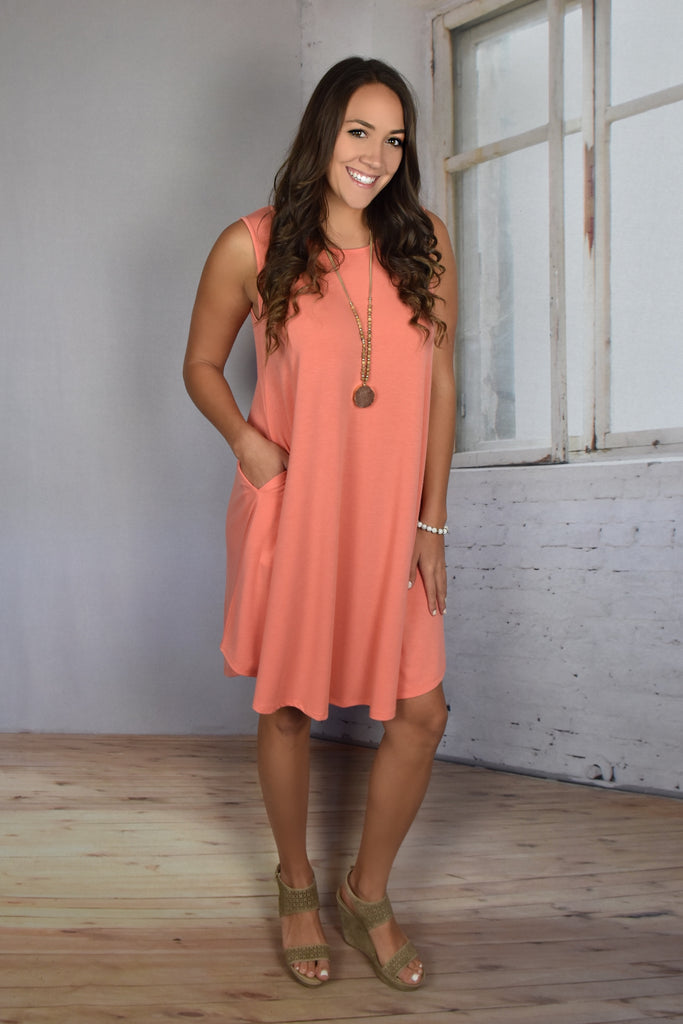 Love So Soft Tank Dress with Pockets- Coral