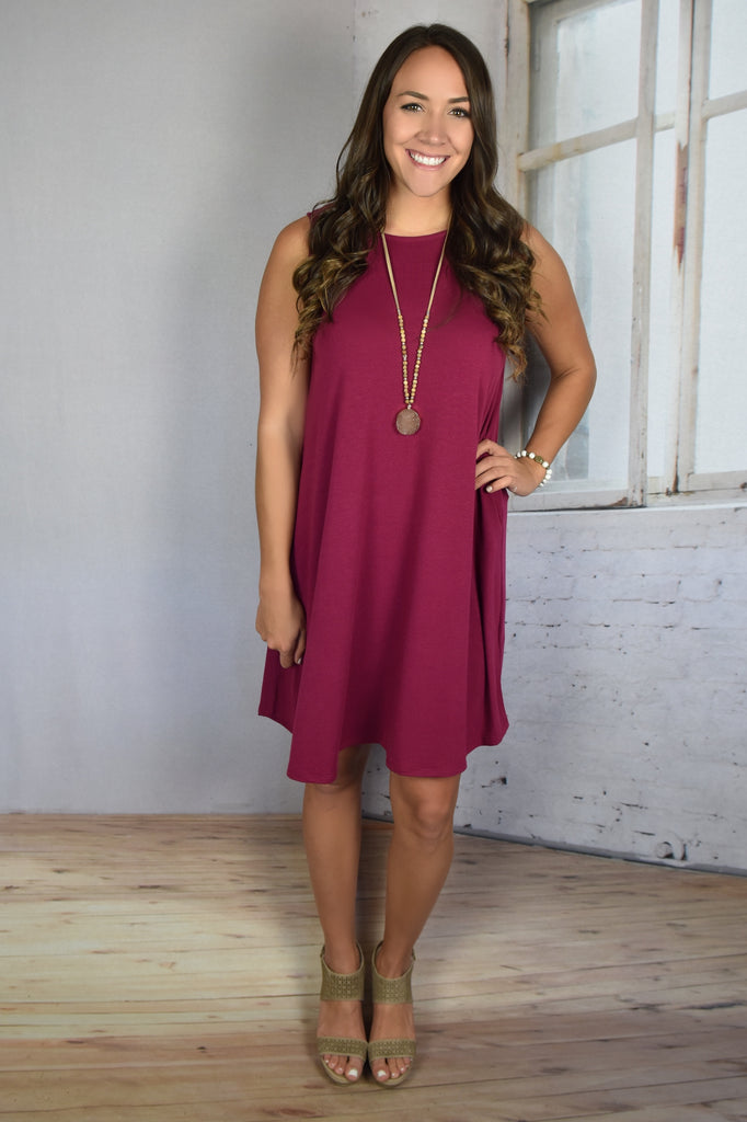Love So Soft Tank Dress with Pockets- Wine